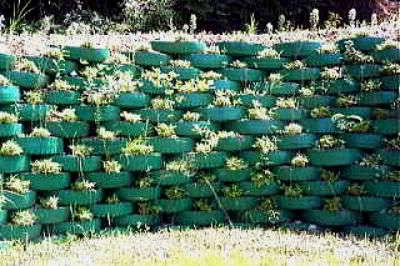 Стена Забор из старых покрышек своими руками