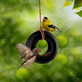 Кормушка для птиц из старых покрышек своими руками